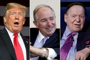 (From left) US President Donald Trump watched the midterms with Republican mega-donors, including Blackstone chief Steve Schwarzman and business magnate Sheldon Adelson.