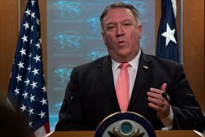 Pompeo (above) planned to meet with Kim Yong Chol, North Korea's former intelligence chief and top diplomat.