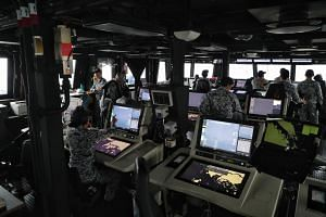 The integrated command centre of the RSS Sovereignty. The Singapore Armed Forces  will deploy over 40 assets from several task forces to secure Singapore's airspace and surrounding waters during the  Summit.