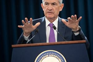 Federal Reserve chairman Jerome Powell speaking during a press conference in Washington, DC.