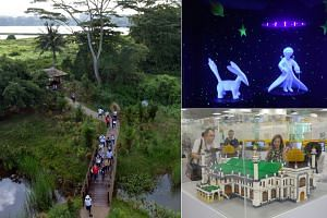 (Clockwise from left) File photo of the Kranji Marshes, The Little Prince In The Dark display and travelling exhibition Building History: Monuments in Bricks & Blocks.