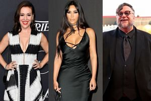 Celebrities including (from left) Alyssa Milano, Kim Kardashian and Guillermo del Toro had to evacuate.