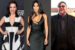 Celebrities including (from left) Alyssa Milano, Kim Kardashian and Guillermo del Toro had to evacuate.