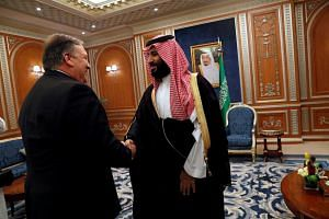 US Secretary of State Mike Pompeo meets with Saudi Crown Prince Mohammed bin Salman during his visit in Riyadh, Saudi Arabia, on Oct 16, 2018.