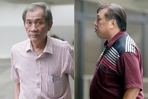 Renovation firm manager Tan Aik Gee (right) and one of his accomplices, freelance contractor Wong Weng Kong (left), were jailed and fined over a scam that defrauded a company of more than $10 million.