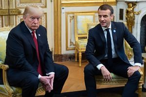 US President Donald Trump with French president Emmanuel Macron prior to their meeting at the Elysee Palace in Paris, on Nov 10, 2018.