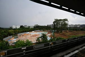 The construction site of Punggol Town Hub on Oct 7, 2018. It is one of 12 demonstration projects using Integrated Digital Delivery (IDD) technologies.