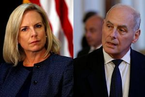 Nielsen (left), a protege of Kelly (right), became DHS chief when he left the job to be Trump's chief of staff.