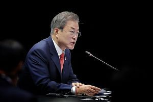 South Korean President Moon Jae-in making his opening remarks at the Asean-Republic of Korea Summit yesterday.