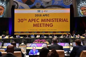 Papua New Guinea's Foreign Affairs and Trade Minister Rimbink Pato (centre) chairs the 30th Asia-Pacific Economic Cooperation ministerial meeting in Port Moresby on Nov 15, 2018.