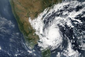 Cyclonic storm Gaja approaching the east coast of Sri Lanka and India in the Bay of Bengal, on Nov 15, 2018.