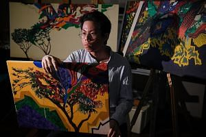 Artist Moktarrullah Abdullah (above), who was diagnosed with depression and obsessive compulsive disorder at the age of 15, says art has helped him cope with his monsters.