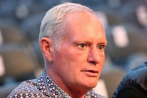 Former football player Paul Gascoigne attends the World Boxing Organisation Interim World Featherweight Title fight at Windsor Park, in Belfast, Northern Ireland, on Aug 18, 2018.