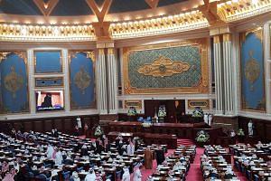 Members of Saudi Arabia's Shura Council and other dignitaries gather to listen to a speech by Saudi Arabia's King Salman bin Abdulaziz Al Saud, in Riyadh on Nov 19, 2018.