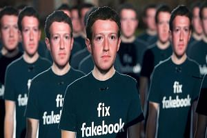 Cardboard cutouts of Facebook CEO Mark Zuckerberg placed outside the US Capitol in Washington in April. Many countries have taken steps to stanch the flow of fake news on social media, with India warning Facebook that it will be treated as a legal ab