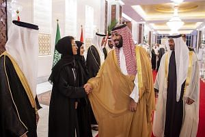 Saudi Crown Prince Mohammed bin Salman and Abu Dhabi Crown Prince Mohammed bin Zayed Al Nahyan (right) at a welcoming ceremony in Abu Dhabi last Thursday. The murder of Mr Jamal Khashoggi, irrespective of whether the Saudi royal ordered it or not, ha