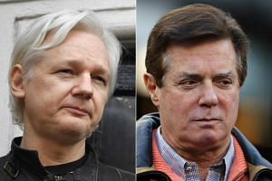 """Paul Manafort (right) went to the Ecuadorian embassy in London in 2013, 2015 and then """"around March 2016"""" to meet WikiLeaks founder Julian Assange."""