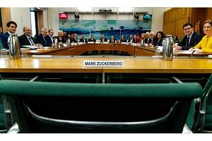 Representatives from nine countries at the hearing in London yesterday. Facebook chief executive Mark Zuckerberg was invited to testify but did not attend. The company's vice-president of policy solutions Richard Allan was sent instead.