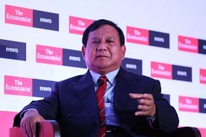 Indonesia's presidential candidate Prabowo Subianto in his keynote interview at The Economist's The World in 2019 gala dinner held at the Grand Hyatt Hotel in Singapore on Nov 27, 2018.