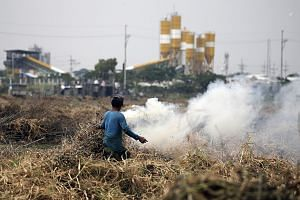 A farmer burning dried grass in Taguig City, south of Manila, yesterday. The UN Environment Programme's report found that the gap between countries' promises in Paris and emissions levels that would be needed to stay consistent with the accord is eve