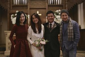 Tay Ting Ting and Goh Kheng Long, flanked by Sharon Au and Jacky Cheung, held the ceremony at The American Church in Paris' 7th arrondissement.