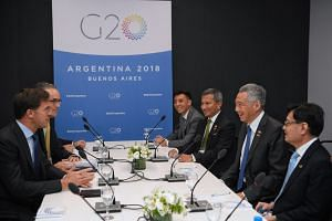Prime Minister Lee Hsien Loong meets Dutch Prime Minister Mark Rutte on the sidelines of the Group of 20 summit in Buenos Aires on Dec 1, 2018.