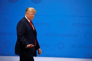 US President Donald Trump arrives for the G-20 Summit in Buenos Aires, Argentina, on Nov 30, 2018.