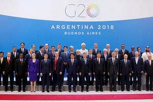 Leaders pose for a photo during the G-20 summit in Buenos Aires, Argentina.