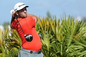 Jon Rahm of Spain tees off on the fourth hole during the final round of the Hero World Challenge at Albany, Bahamas in Nassau, Bahamas, on Dec 2, 2018.