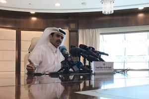 Saad Sherida Al-Kaabi, Qatari Minister of State for Energy Affairs, speaks during a press conference in Doha, Qatar, on Dec 3, 2018.