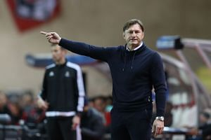 Austrian head coach Ralph Hasenhuttl gestures during the UEFA Champions League group G football match between Monaco and Leipzig at the Louis II stadium, in Monaco on Nov 21, 2018.