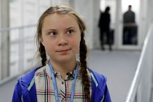 Teenage activist Greta Thunberg at the COP24 UN Climate Change Conference 2018 in Katowice, Poland, on Dec 4, 2018.