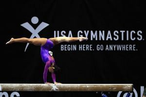 Luisa Blanco competes on the Balance Beam during the P&G Gymnastics Championships at Honda Center in Anaheim, California, on Aug 20, 2017.