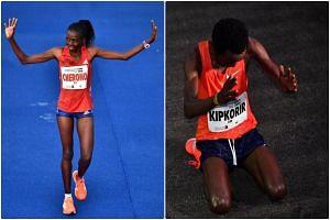 Winners of the Standard Chartered Singapore Marathon women's and men's category respectively, Priscah Cherono and Joshua Kipkorir.