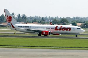 A Lion Air Boeing 737 passenger airplane on the tarmac at Soekarno Hatta international airport in Jakarta on June 23, 2012.