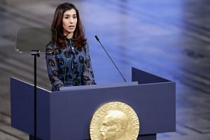 Nobel Peace Prize 2018 laureate Nadia Murad delivers her speech during the Nobel Peace Prize 2018 Ceremony in Oslo Town Hall, Oslo, on Dec 10, 2018.