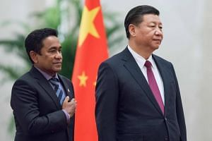 File photo of former Maldives President Abdulla Yameen (left) and China President Xi Jinping. Maldives officials have recently opened up about their frustration over the scale of the debt to China, equivalent to almost 20 per cent of GDP.