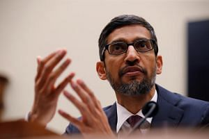 """Google CEO Sundar Pichai testifies at a House Judiciary Committee hearing """"examining Google and its Data Collection, Use and Filtering Practices"""" on Capitol Hill in Washington, US, on Dec 11, 2018."""