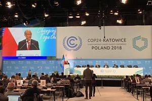 Minister for the Environment and Water Resources Masagos Zulkifli delivers Singapore's national statement at COP24, in Katowice, Poland, on Dec 12, 2018.