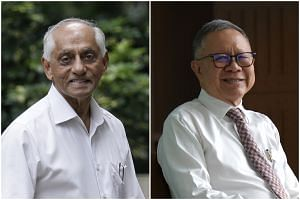 Mr J. Y. Pillay (left), chairman of the Council of Presidential Advisers (CPA) will retire on Jan 2, 2019. He will be succeeded by Mr Eddie Teo, who is currently a member of the CPA.