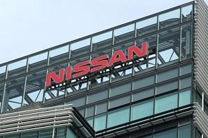 The logo of Nissan displayed on the company's headquarters in Yokohama, Japan, on Dec 10, 2018.