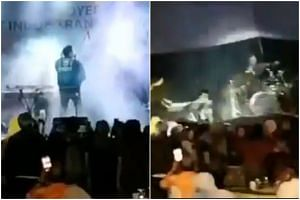 Video footage by MetroTV showed a crowd watching the band Seventeen performing on stage when it suddenly collapsed.