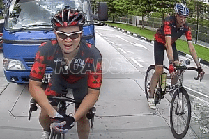 The cyclist had been riding in front of the lorry on Pasir Ris Drive 3. PHOTO: SCREENGRAB FROM ROADS.SG