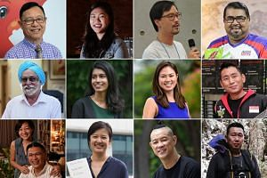 Singaporean of the Year nominees (first row, left to right) Robert Chew, Annabelle Kwok, Bjorn Low,  Nizar Mohamed Shariff, (second row, left to right) Harbhajan Singh, Siti Noor Mastura, Elizabeth Tan, Teo Yee Ming, (third row, left to right) Kennet