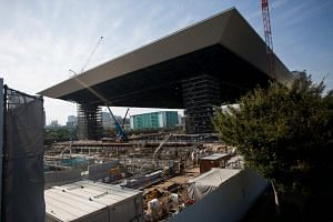 A general view of the construction site of the Olympic Aquatics Centre, venue for the swimming competition in the upcoming Tokyo 2020 Olympic Games.