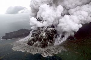 An aerial view shows the Anak Krakatau volcano erupting in Lampung, Indonesia, on Dec 23, 2018.