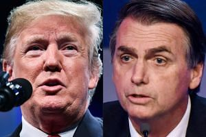"Bolsonaro (right), like Trump (left), has provoked outrage over the years with brash, swaggering statements, including telling a female lawmaker she was ""not worth raping""."