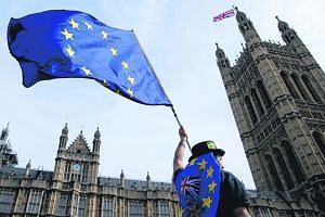 An anti-Brexit demonstrator waving the European Union flag outside the Houses of Parliament in London in September.