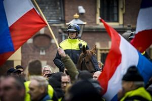 Protestors wearing yellow vests demonstrate in The Hague, The Netherlands, Dec 29, 2018.