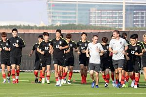 South Korean national footballers training in Abu Dhabi on Dec 30, 2018, ahead of the 2019 Asian Football Confederation Asian Cup.